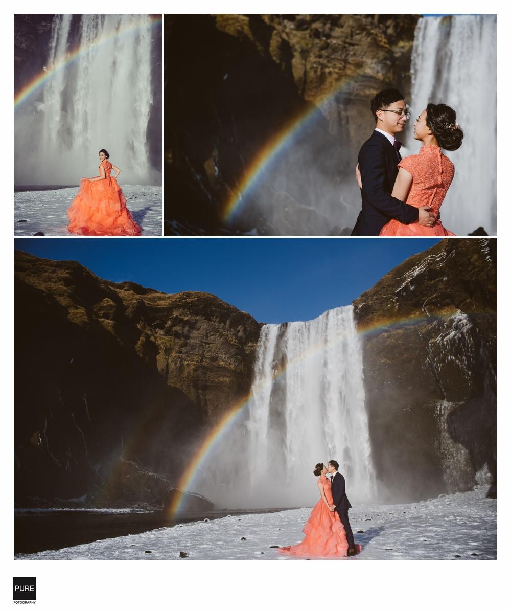 冰島婚紗-SKOGAFOSS彩虹瀑布