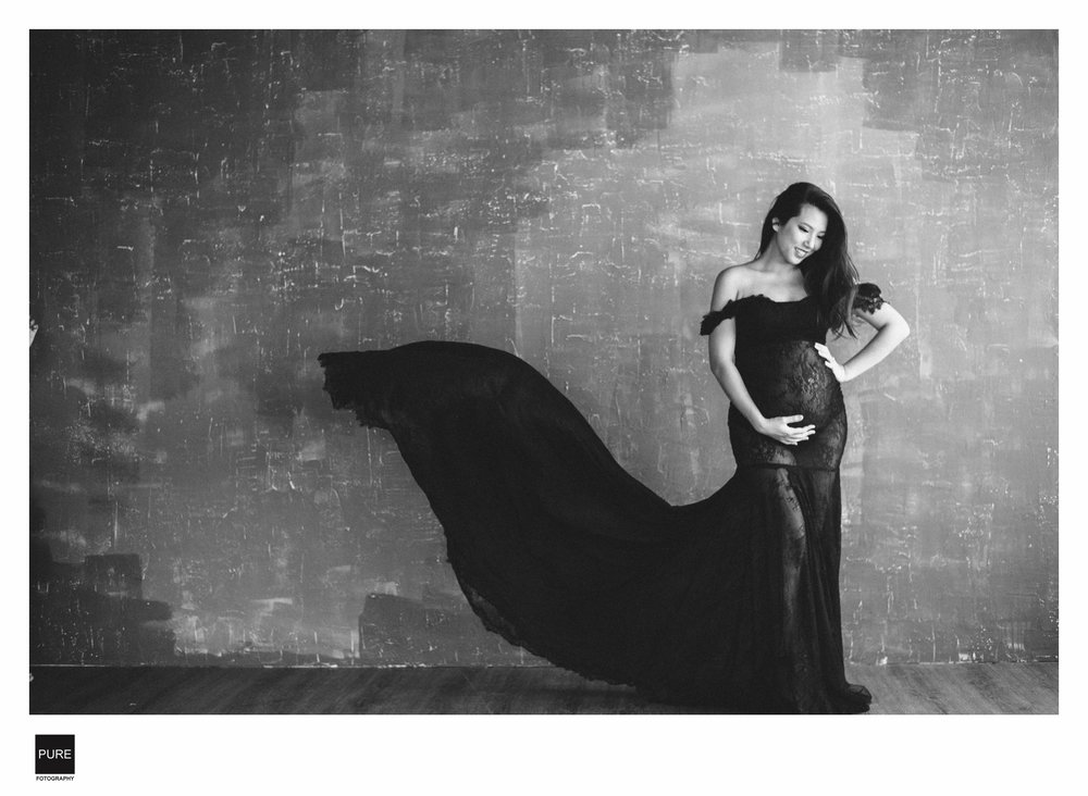 黑色紗質禮服孕婦寫真
