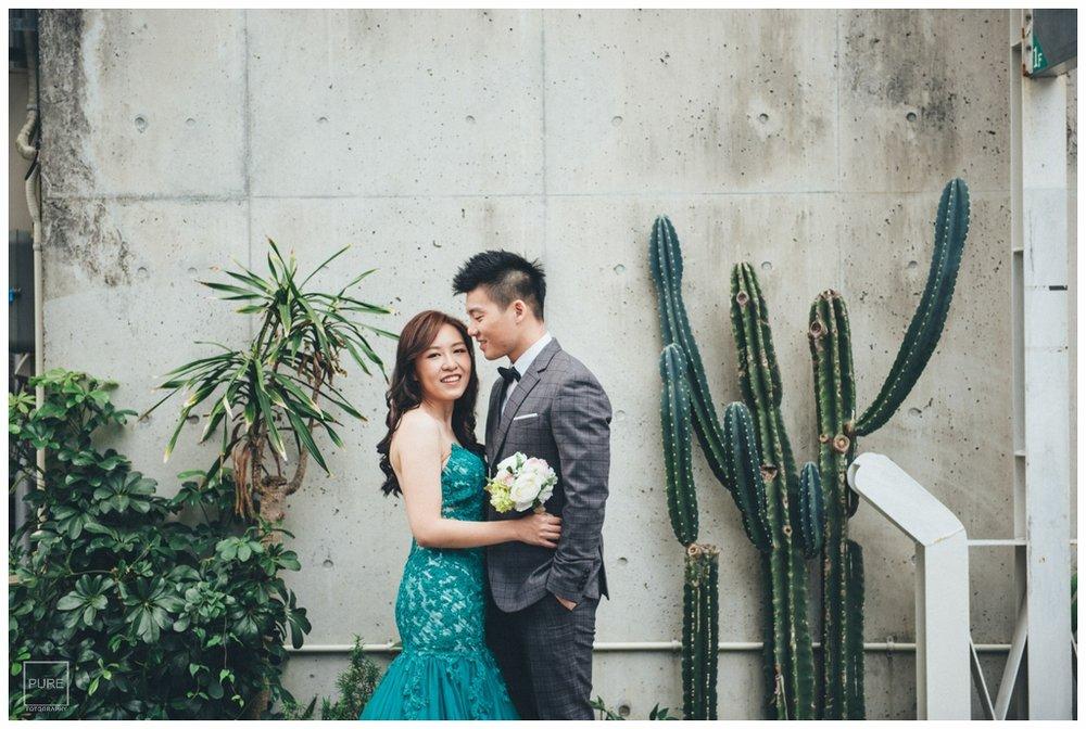仙人掌綠色禮服婚紗拍攝