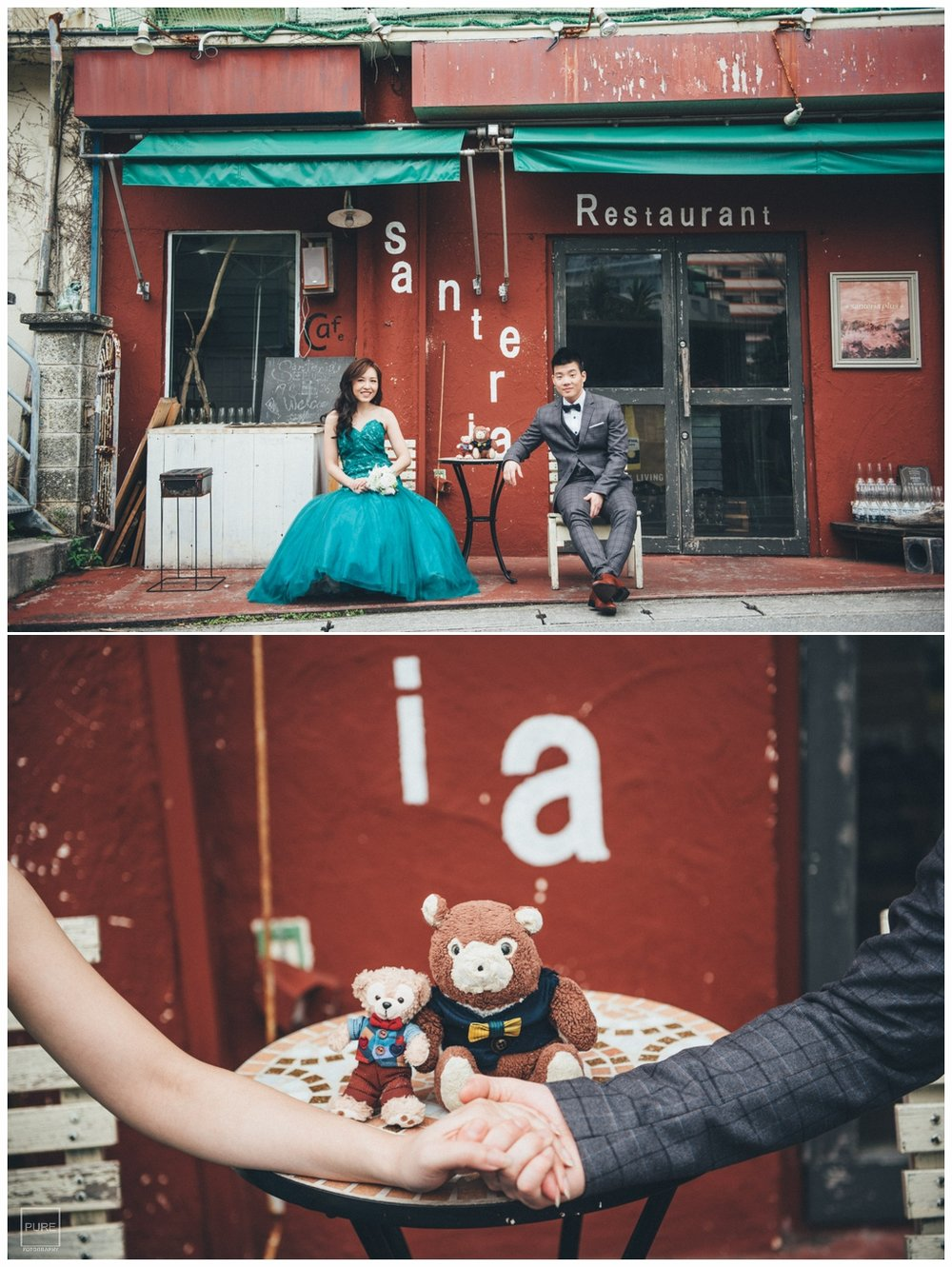 美式婚紗拍攝紅色水泥牆餐廳婚紗拍攝