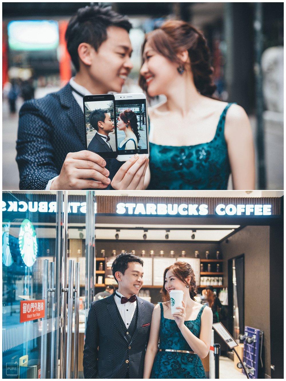 PUREFOTO_台灣自助婚紗攝影Prewedding_starbucks 手機屏幕親嘴婚紗