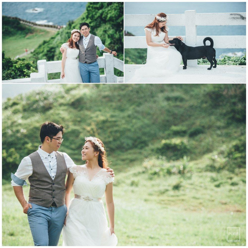 忘憂谷的湛藍海水、山巒層疊、白淨的白紗和圍欄,形成了很和諧的搭配,恬靜又舒適。
