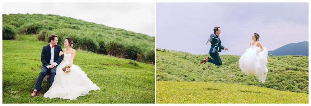 微微露出陽光的山坡添了些活力,不免俗的要來張Jump!!