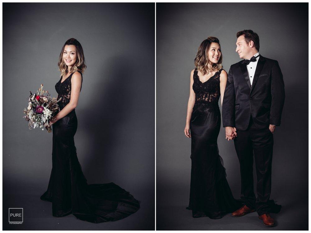 黑色禮服修身又性感,但有些長輩會不喜歡新娘宴客時穿黑色,在拍攝婚紗時滿足黑色個性禮服的心願也是很棒的!
