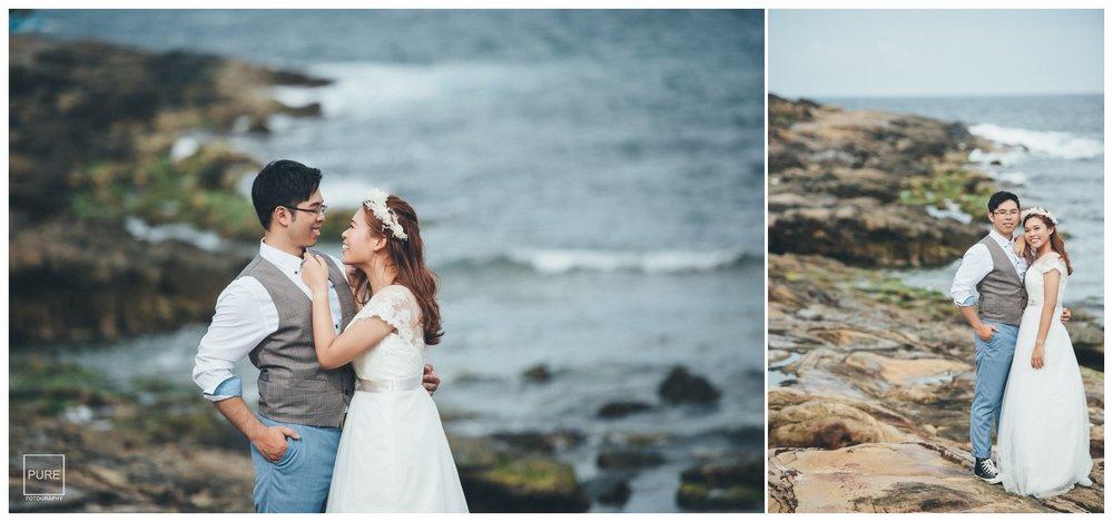 有別於沙灘的柔和感,望幽谷的沿岸更有種壯麗感,格外襯出新娘白紗的柔和。