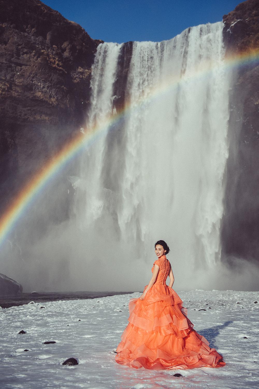 冰島婚紗-彩虹瀑布