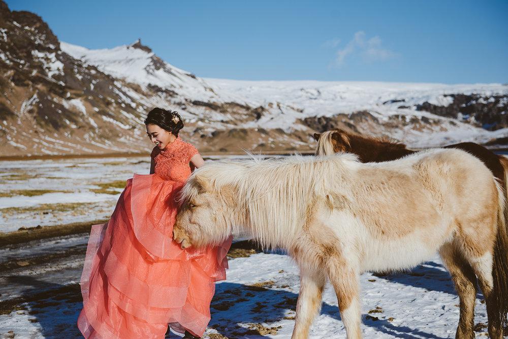 冰島海外婚紗-冰島馬婚紗