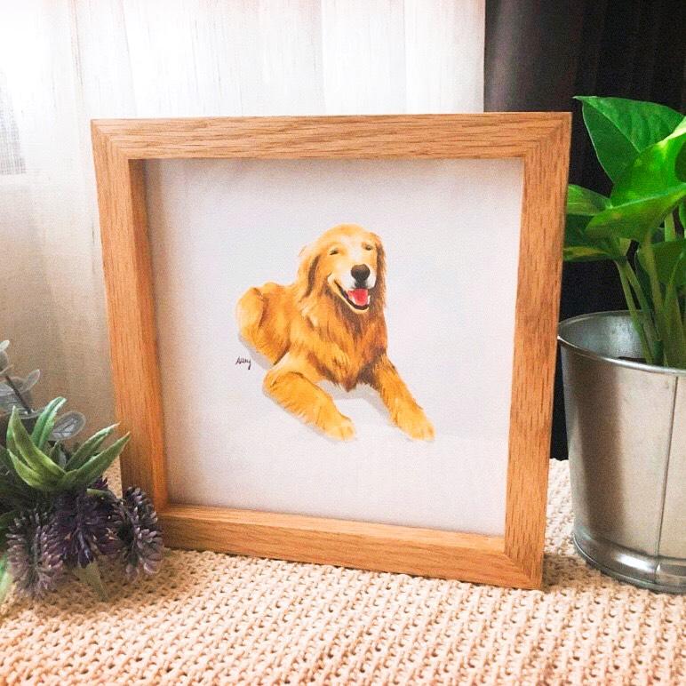 寵物插畫相框,寵物寫真,寵物畫像,狗狗插畫