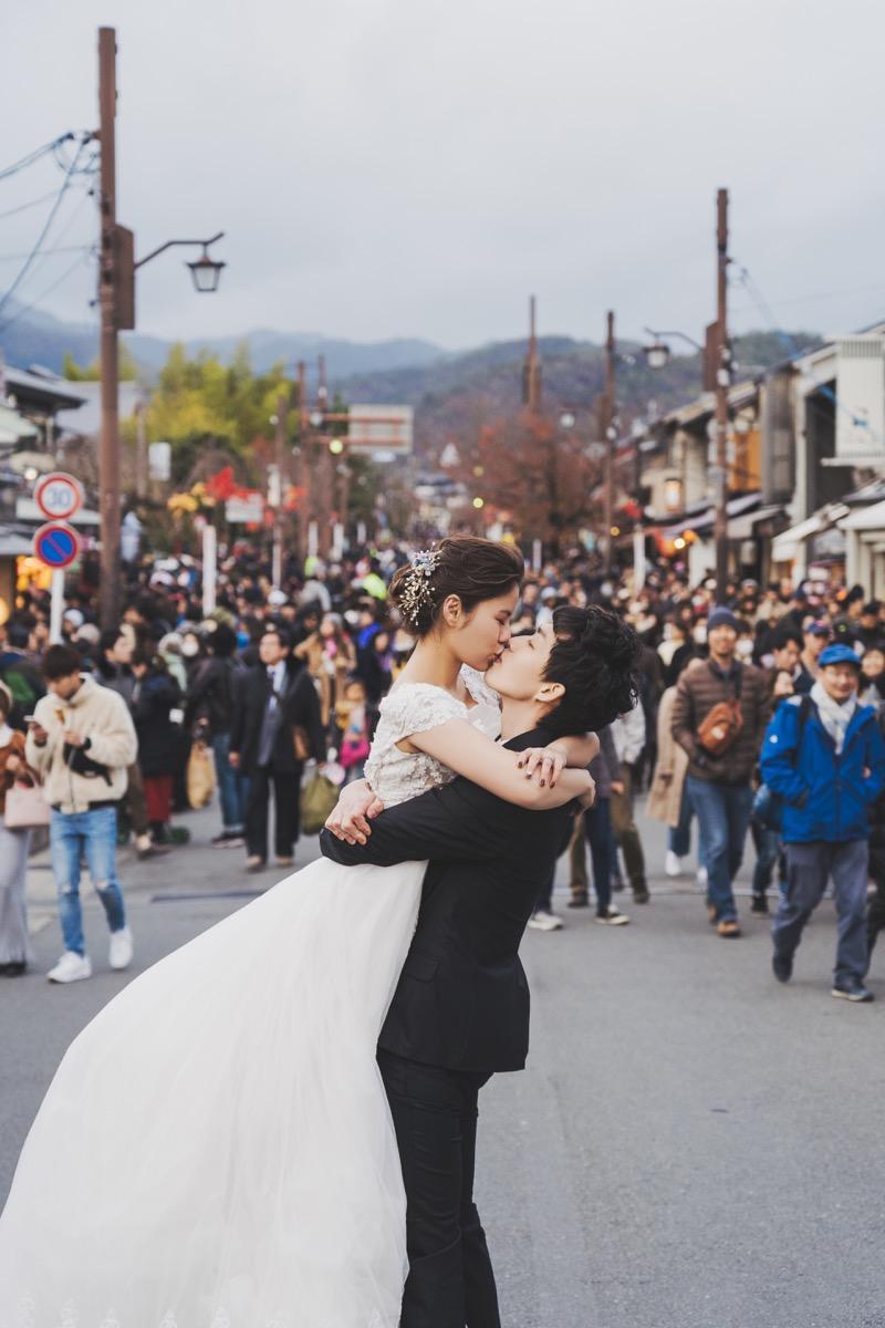嵐山婚紗拍攝,人潮婚紗,京都婚紗
