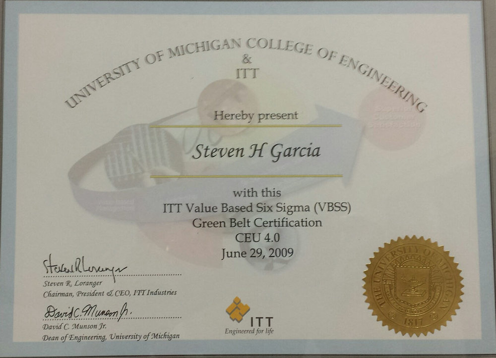 Steven H. Garcia - ITT Value Based Six Sigma (VBSS) Green Belt Certification CEU 4.0
