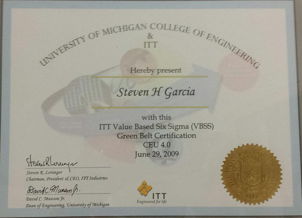 Steven H. Garcia - ITT Value Based Six Sigma (VBSS) Green Belt Certification CEU 4.0