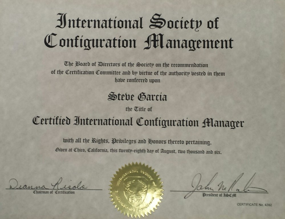 Steve Garcia – ISCM Certified International Configuration Manager