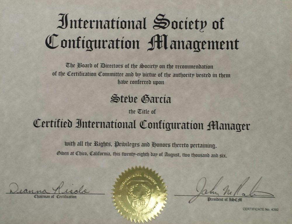 Steve Garcia – ISCM Certified International Configuration Manager