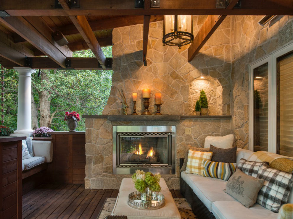 Mom's Design Build - Natural Stone Fireplace Surround