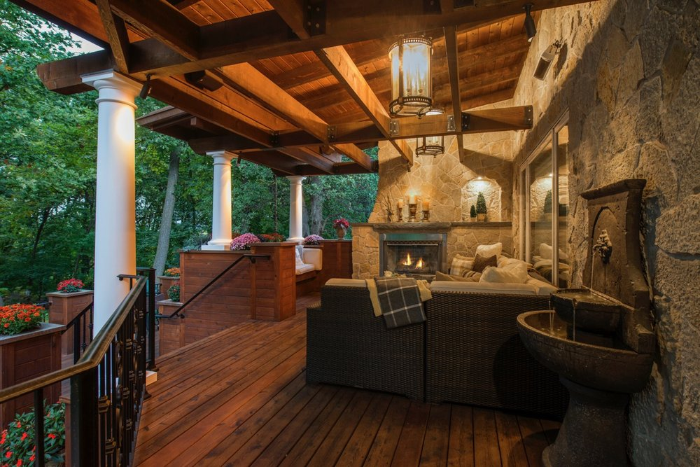 Mom's Design Build - Outdoor Lounging backyard fireplace