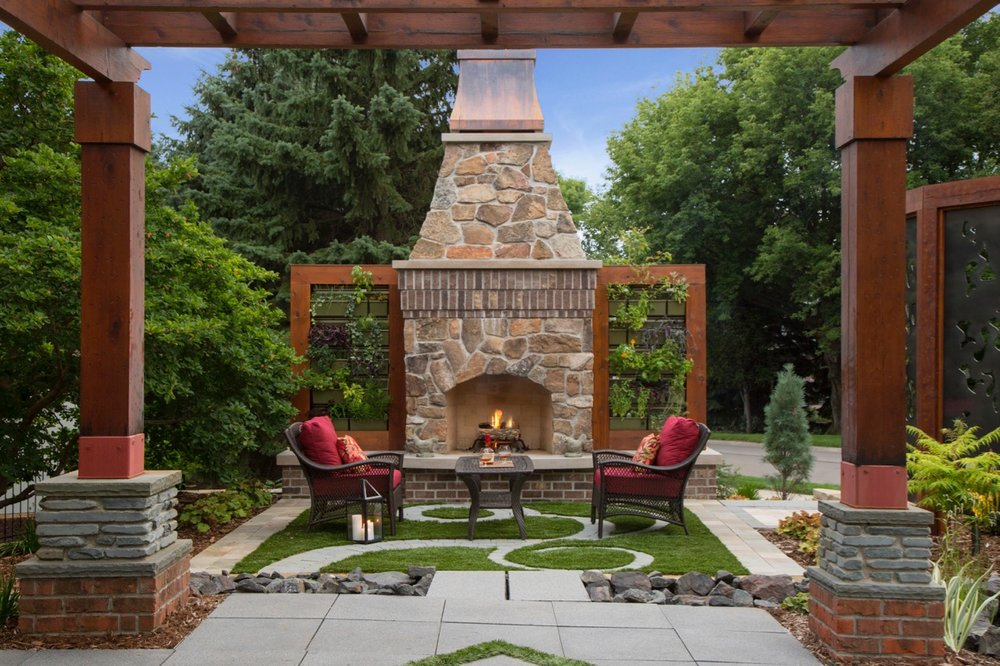 Mom's Design Build - Front Yard Garden Fireplace