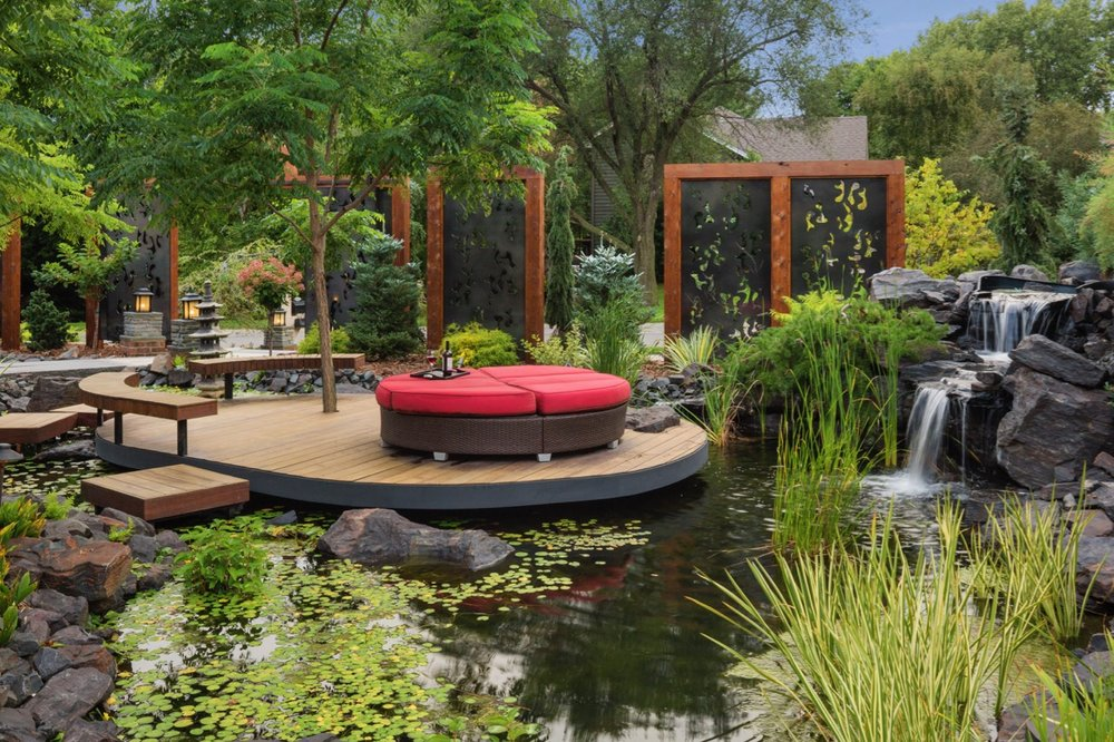 Mom's Design Build - Pond Garden Hardwood Deck