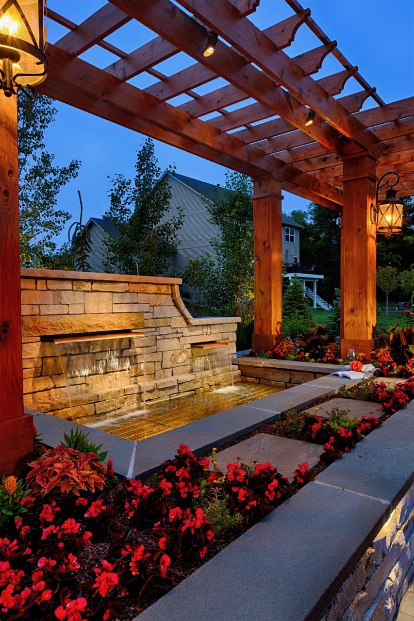 Moms Design Build - Water Feature Natural Stone Pergola