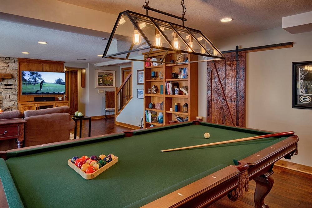 Mom's Design Build - Basement Pool Table Barn Door