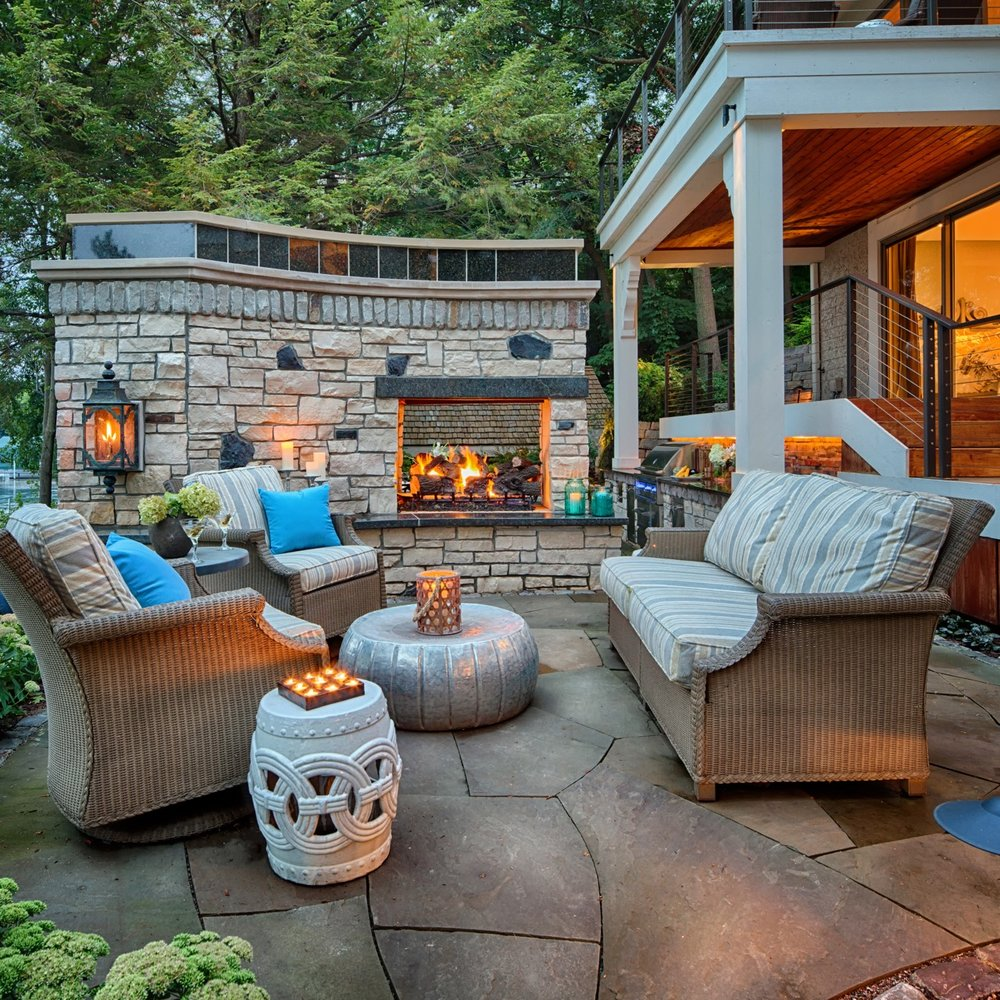 Mom's Design Build - Natural Gas Fireplace Outdoor Couch