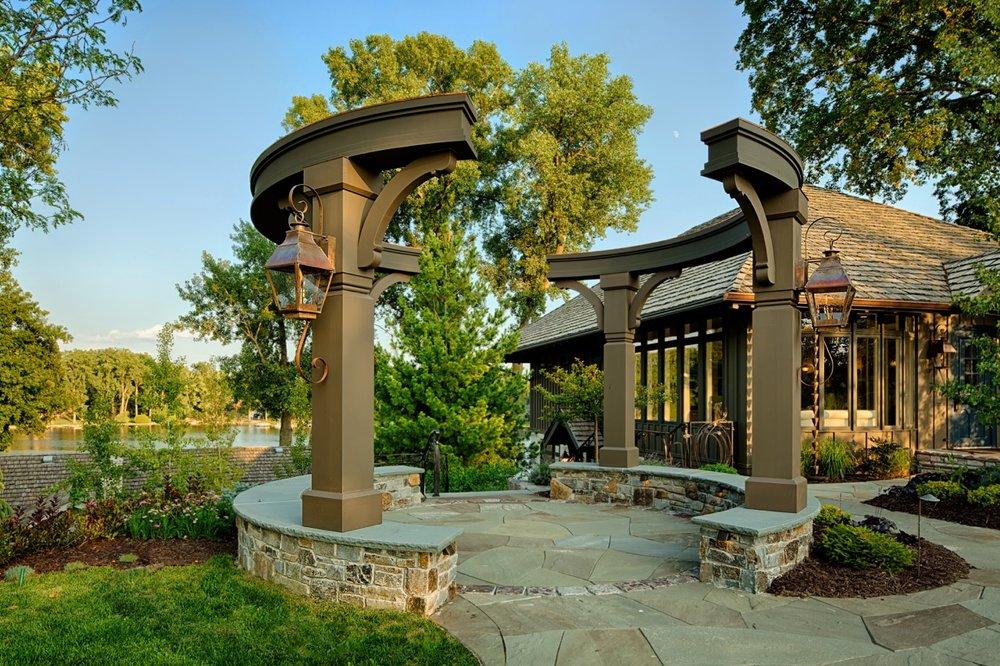 Mom's Design Build - unique Pergola With Natural Stone Walkway