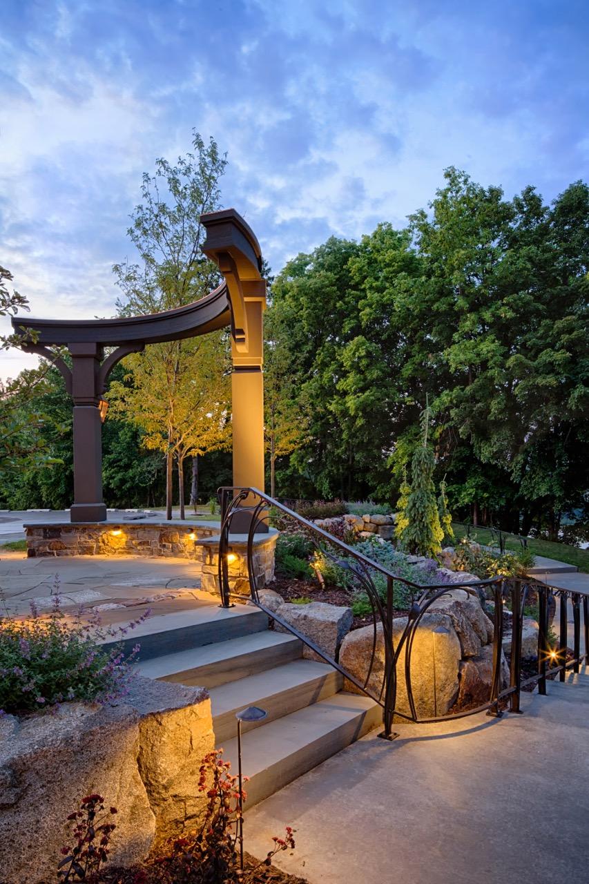 Mom's Design Build - Custom Metal Railing Natural Stone Stairs