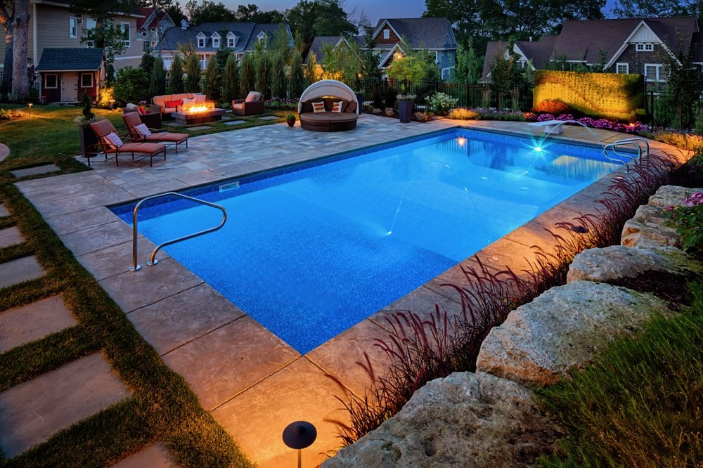 Moms Design Build - Backyard Pool Landscape Stone