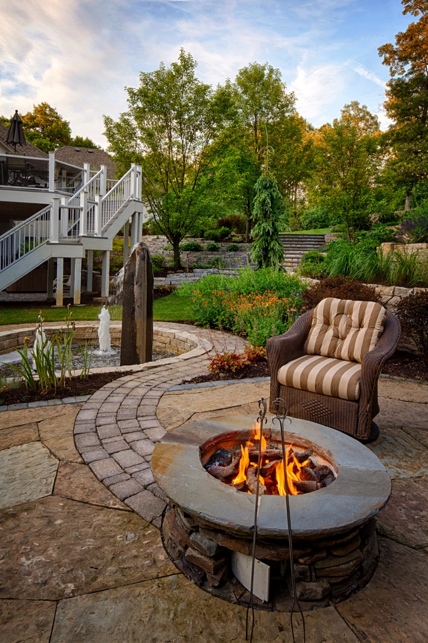 Mom's Design Build - Outdoor Natural Gas Fireplace Water Feature