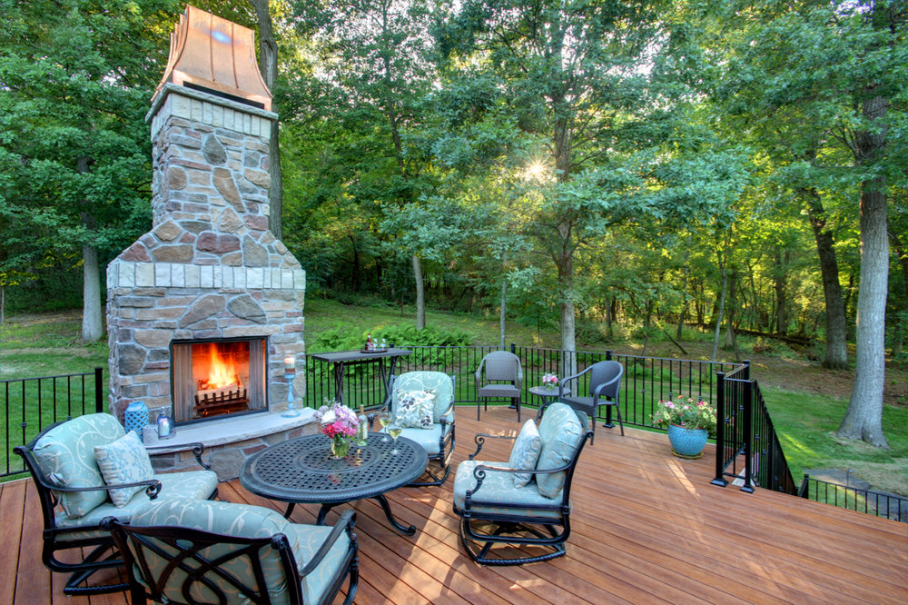 Mom's Design Build - Hardwood Deck with Fireplace and custom railing