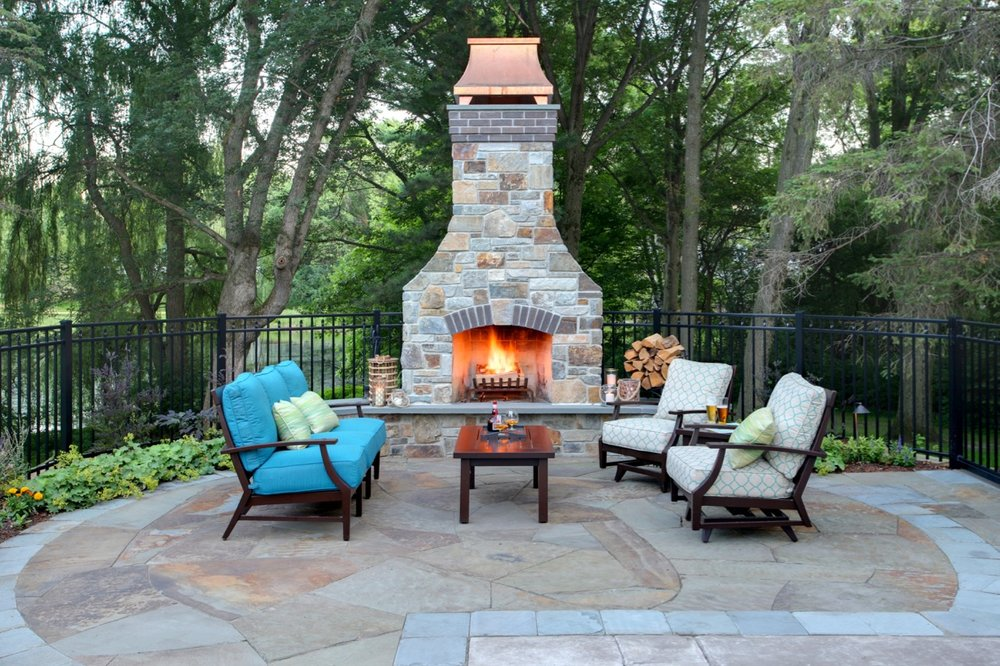 Mom's Design Build - Natural Stone Fireplace Outdoor Furniture