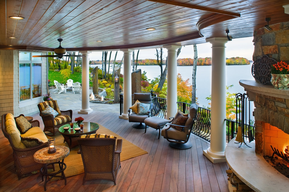 Moms Design Build - Lake Minnetonka Hardwood Deck Fireplace