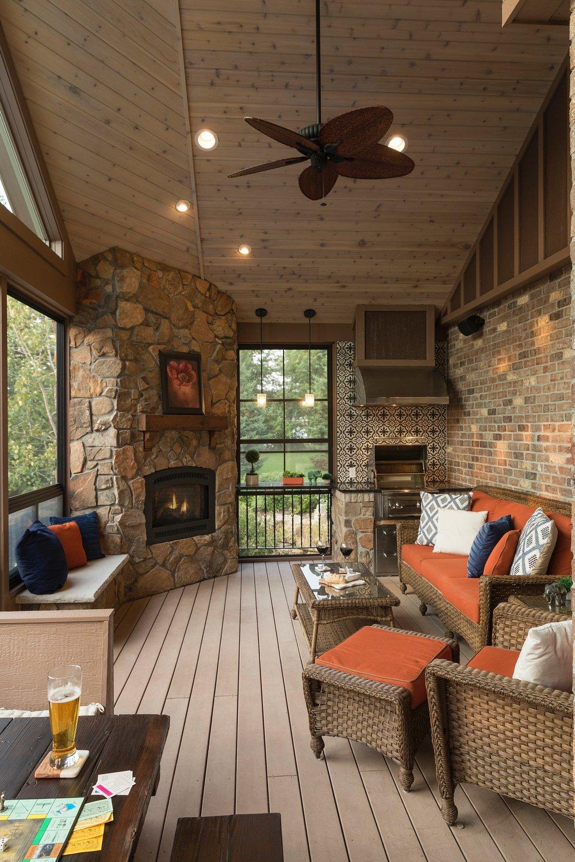Moms Design Build - Indoor Outdoor Porch Fireplace