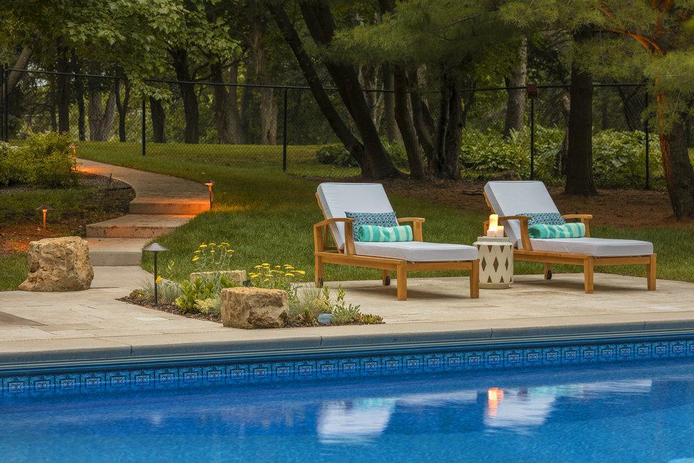Mom's Design Build - Concrete Pool Surround Modern Poolside Furniture