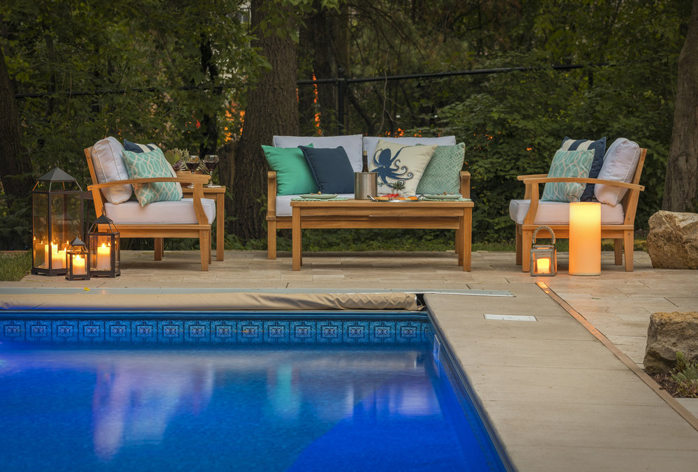 Mom's Design Build - Concrete Pool Surround With Modern Poolside Furniture