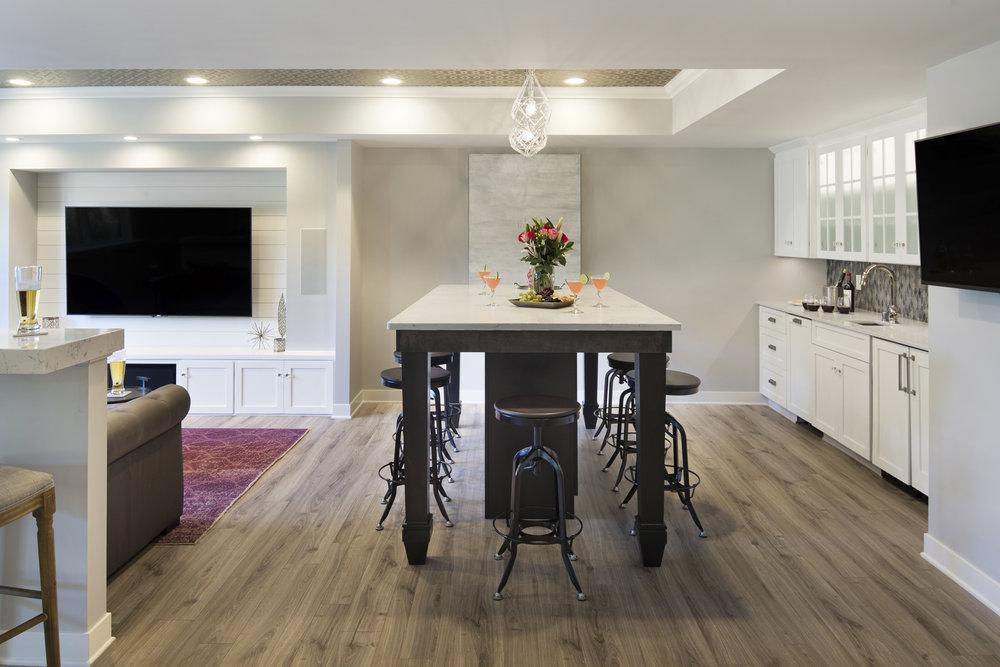 Moms Design Build - Cute Basement Remodel Bar Kitchen