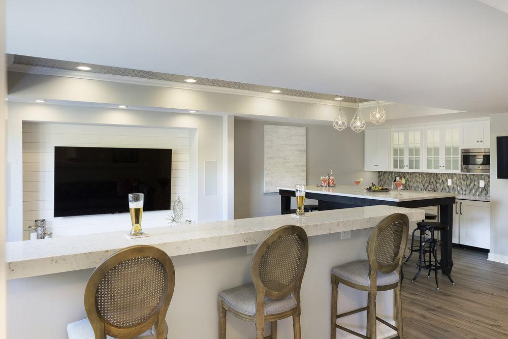 Moms Design Build - Basement Bar with Kitchen