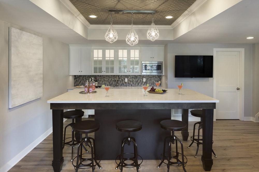 Moms Design Build - Basement Remodel White Cabnets