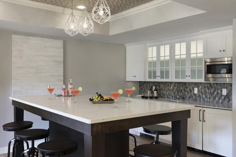 Moms Design Build - Basement Remodel Kitchen Sink Table Interior Design