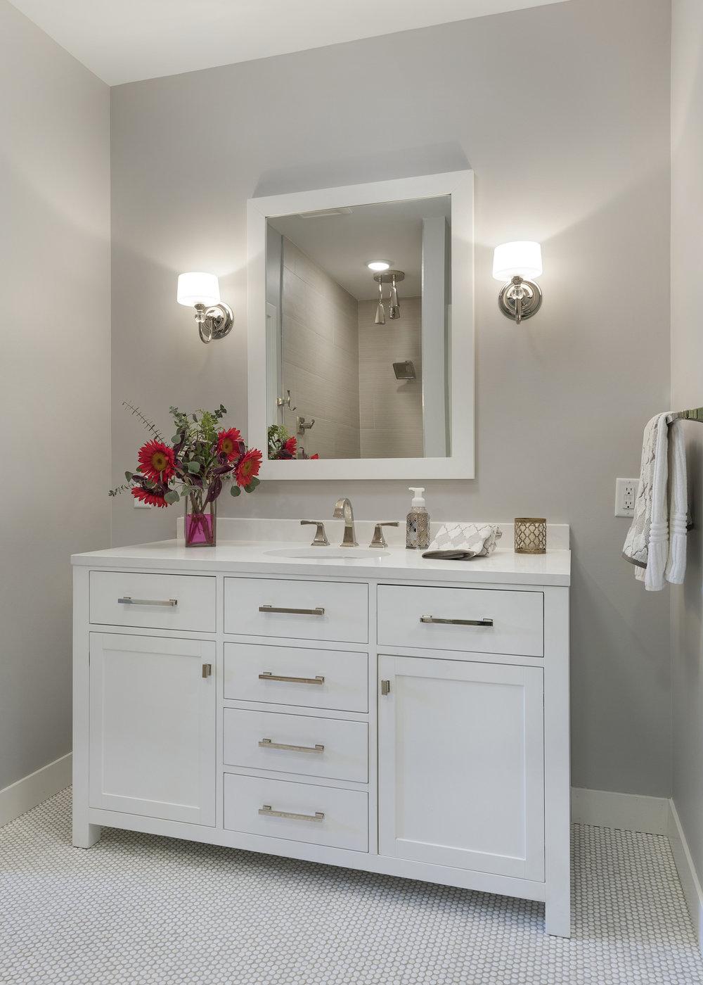 Moms Design Build - Basement Bathroom Design Remodel Vanity
