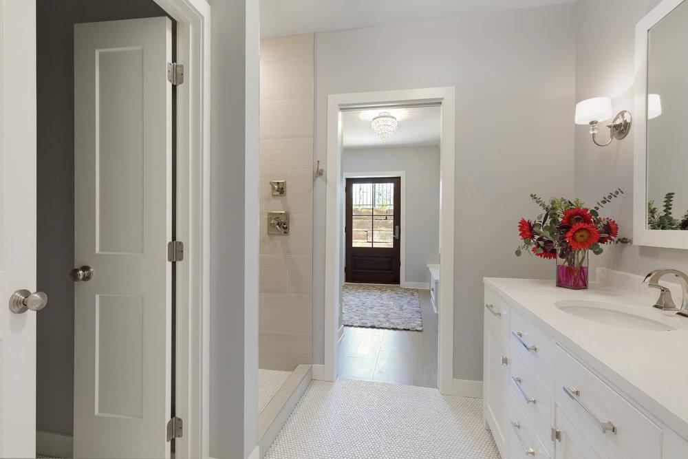 Moms Design Build - Interior Design Basement Remodel Vanity White Tile