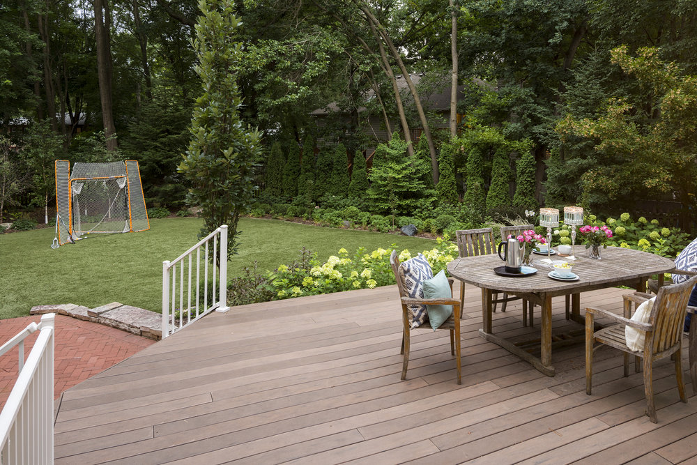 Mom's Design Build - Backyard Hardwood Deck Outdoor Dining