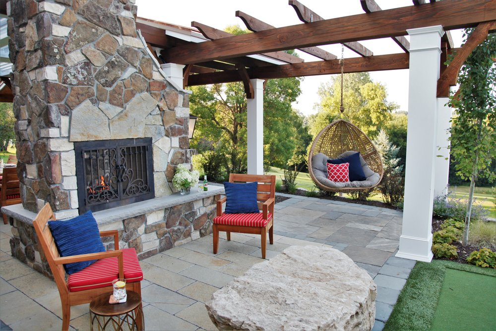 Mom's Design Build - Natural Stone Patio Contemporary Swing