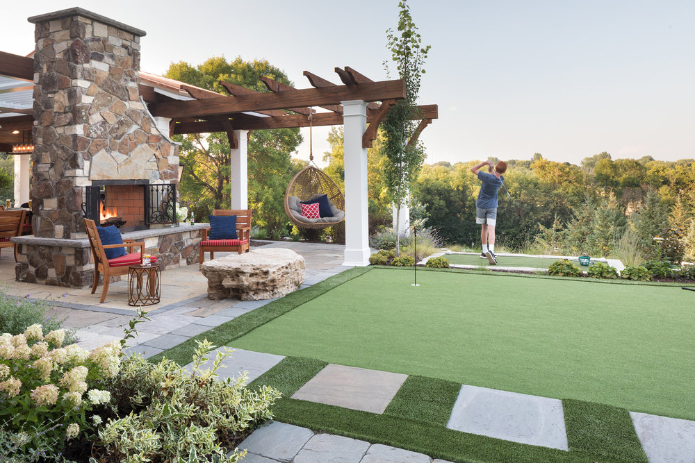Mom's Design Build - Backyard Golf Green Living Section