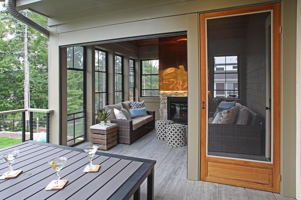 Mom's Design Build - Three Season Porch Porcelain Tile On Deck