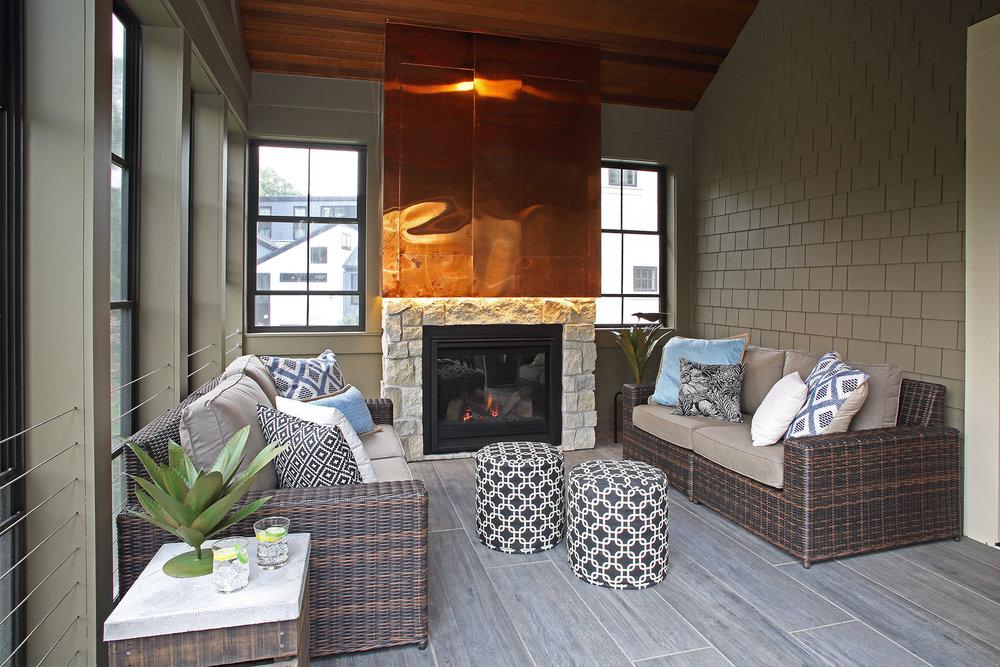 Mom's Design Build - Three Season Porch Copper Fireplace