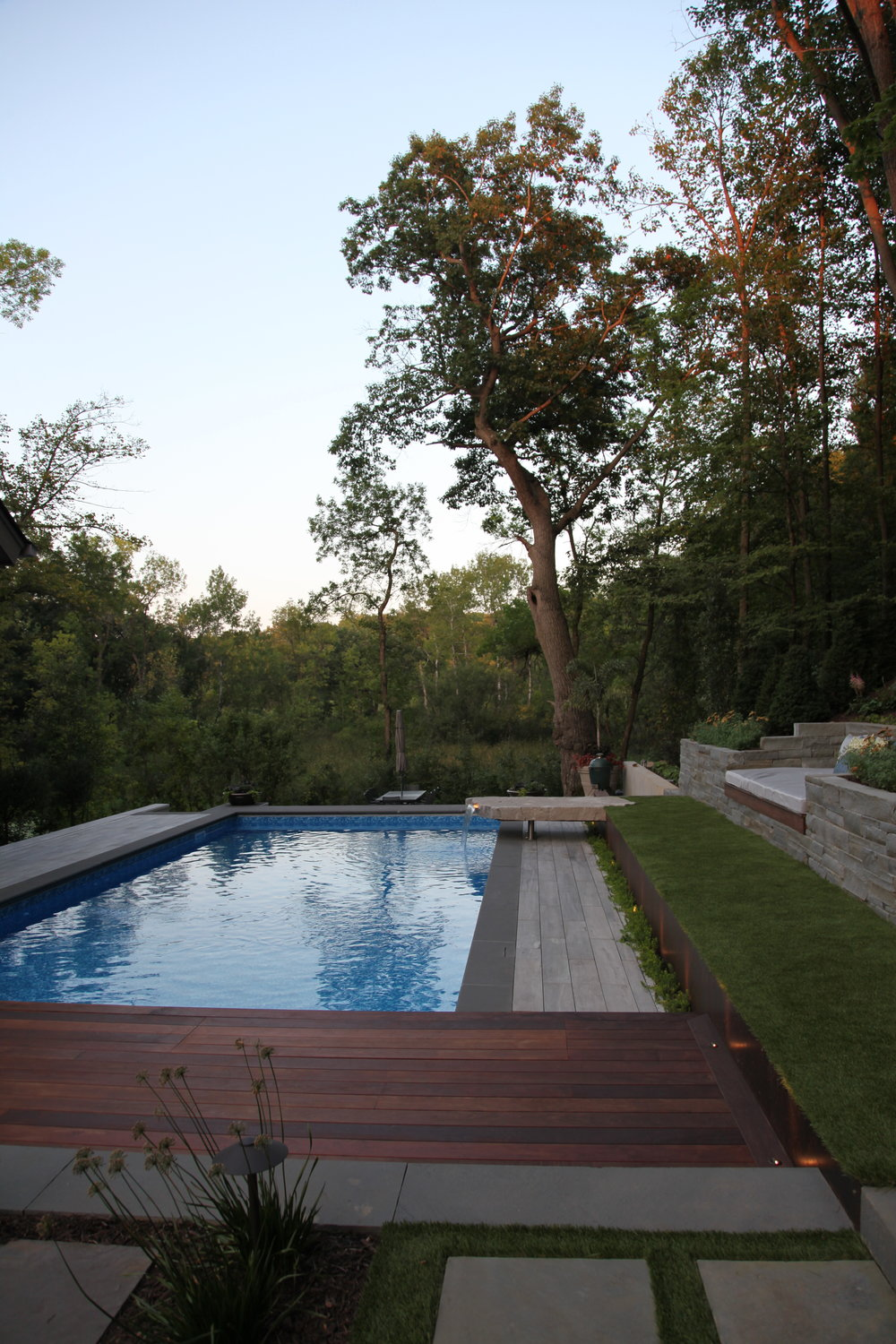 Moms Design Build - Hardwood Deck Corten Retaining Wall