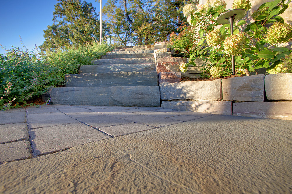Mom's Design Build - Lake Minnetonka natural stone patio stone stairs landscape