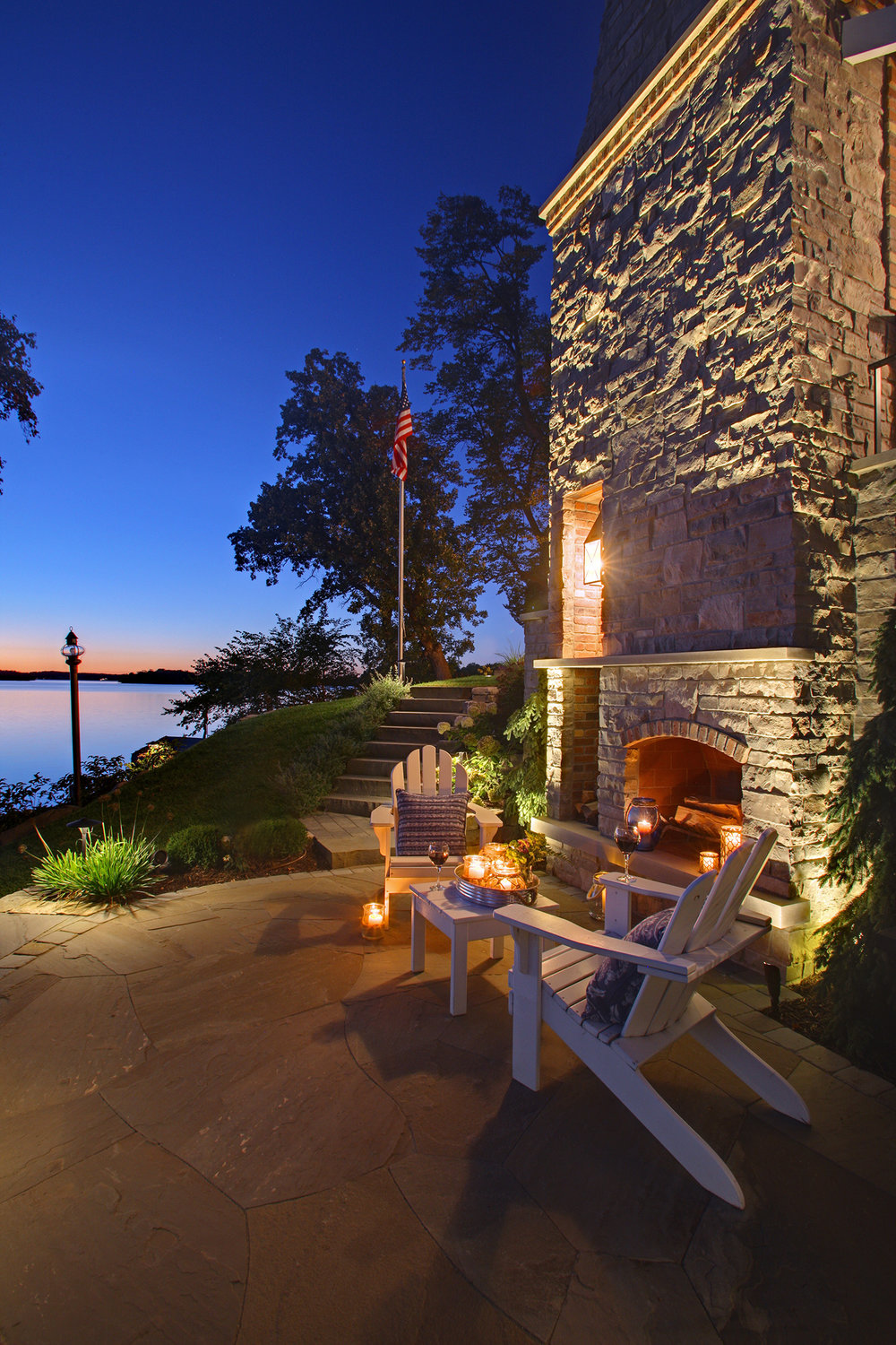 Mom's Design Build - Lake Minnetonka Fireplace stone yard design