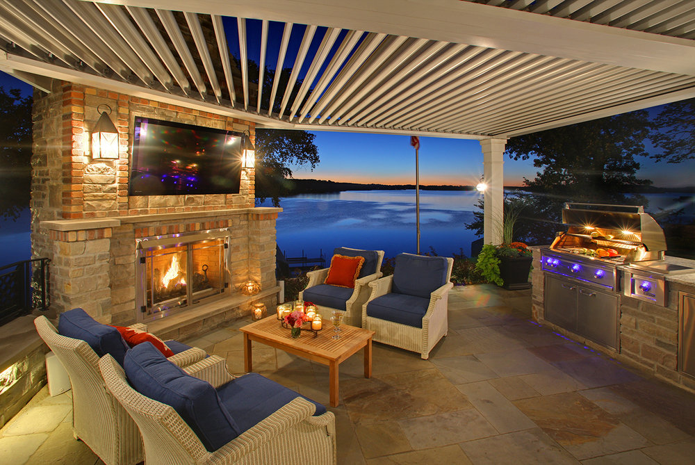 Mom's Design Build - Lake Minnetonka outdoor kitchen adjustable pergola