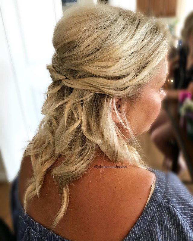 Half updo by stylist Becky ☀️☀️☀️ . . #bridalhair #bridesmaids  #updo #hair #hairoftheday #instahair #curls #braids #braidsandbalayage #stylemepretty #hairstyleconfessions#theknotweddings #yeghair #yegstylist